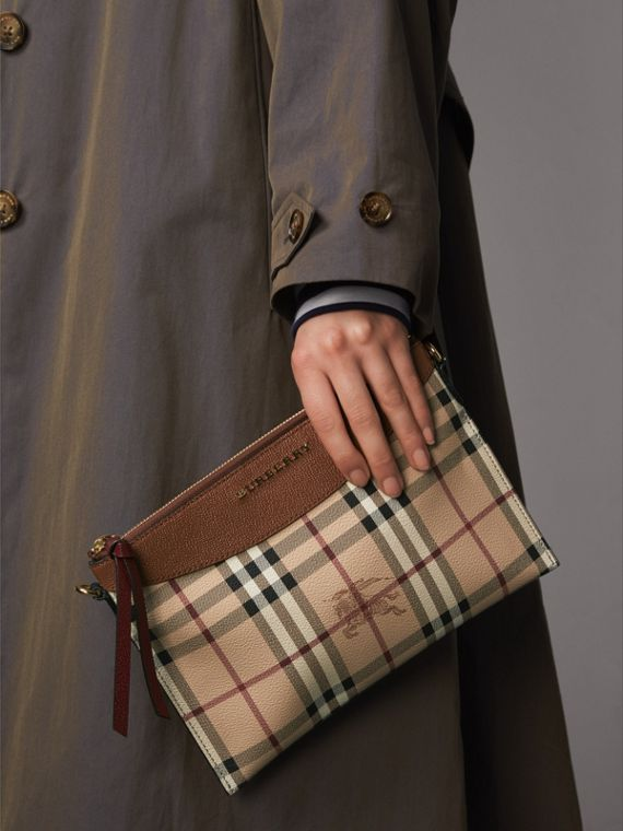 Haymarket Check and Two-tone Leather Clutch Bag in Bright Toffee/ Multicolour - Women | Burberry Australia - cell image 3