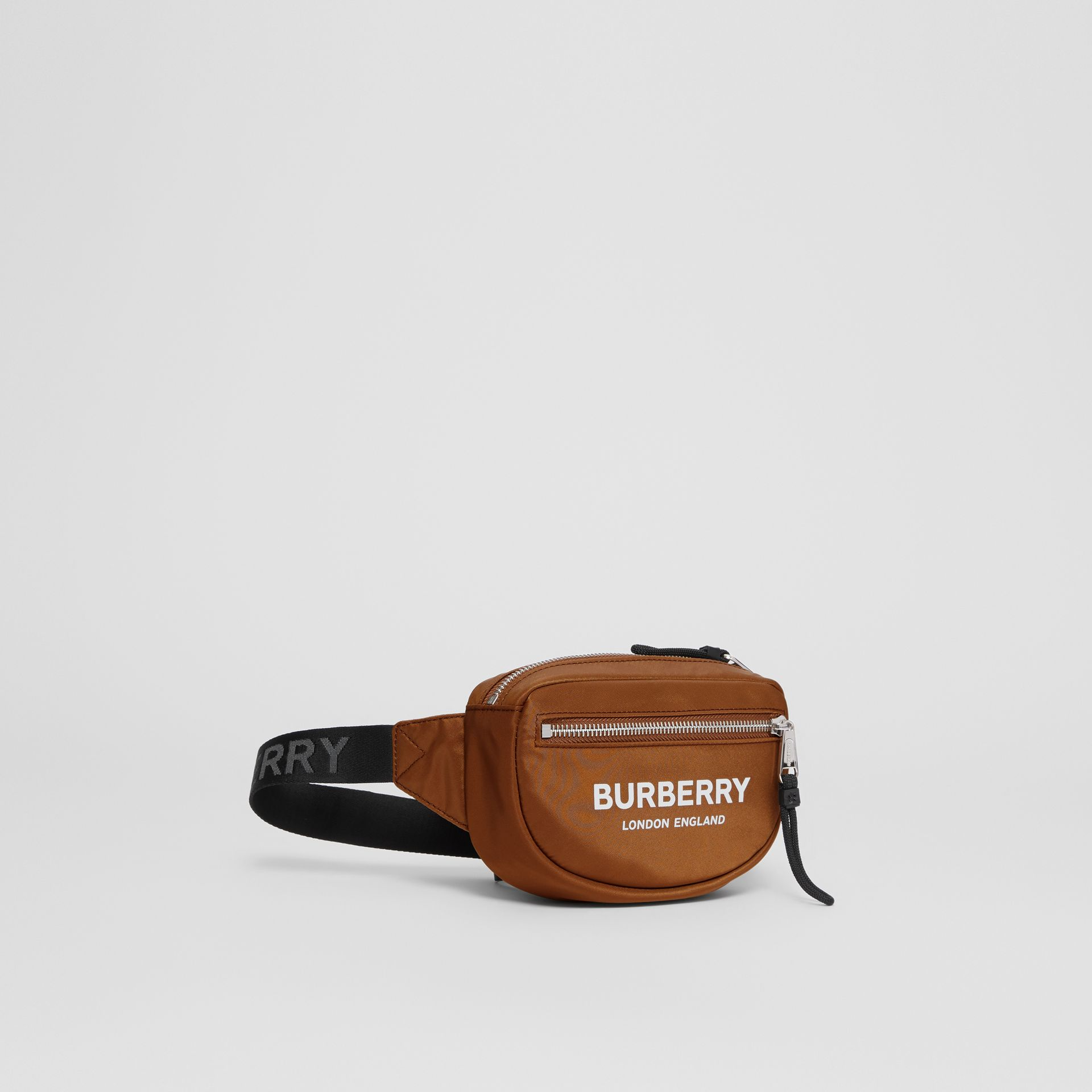 Mini Logo Print Bum Bag in Dark Camel | Burberry - gallery image 6