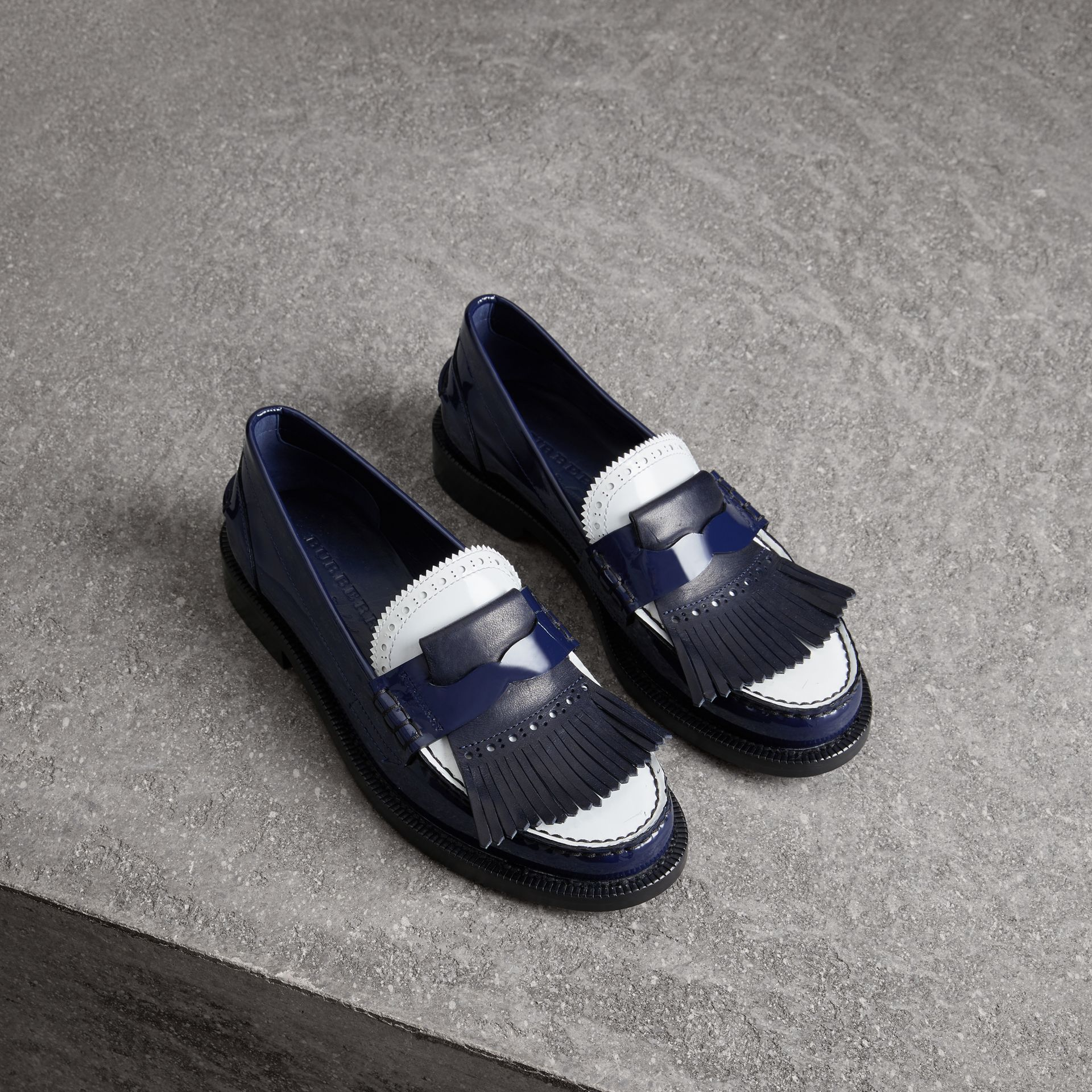Tri-tone Kiltie Fringe Leather Loafers in Navy - Women | Burberry United Kingdom - gallery image 0