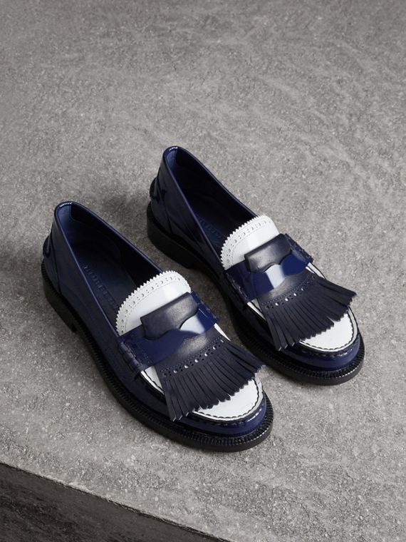 Tri-tone Kiltie Fringe Leather Loafers in Navy