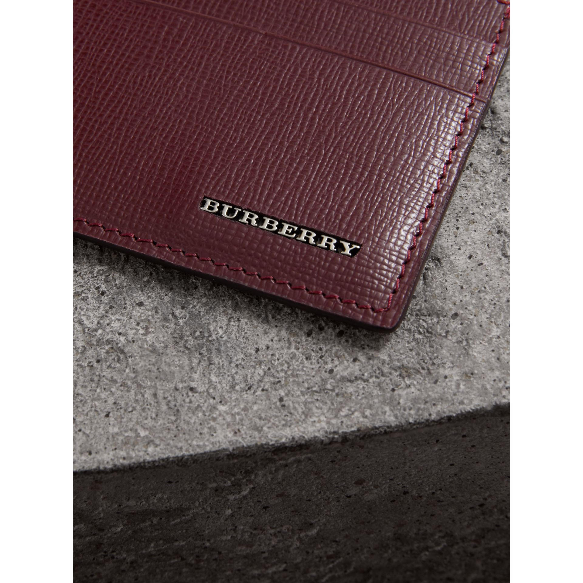 London Leather Card Case in Burgundy Red - Men | Burberry Singapore - gallery image 1