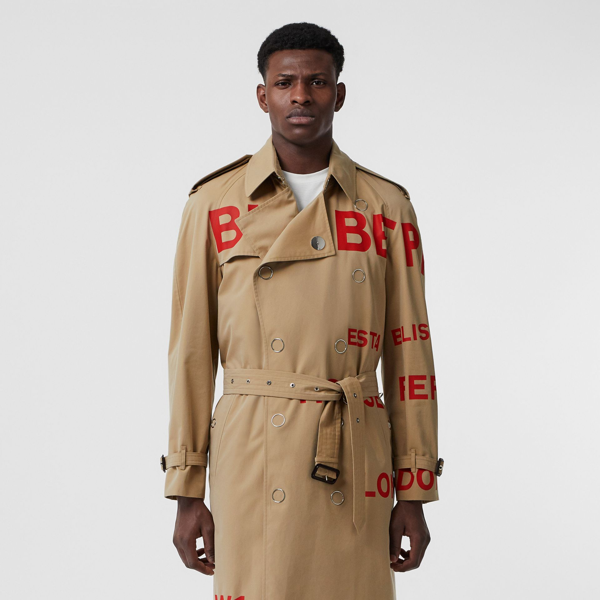 Horseferry Print Cotton Gabardine Trench Coat in Honey | Burberry - gallery image 7