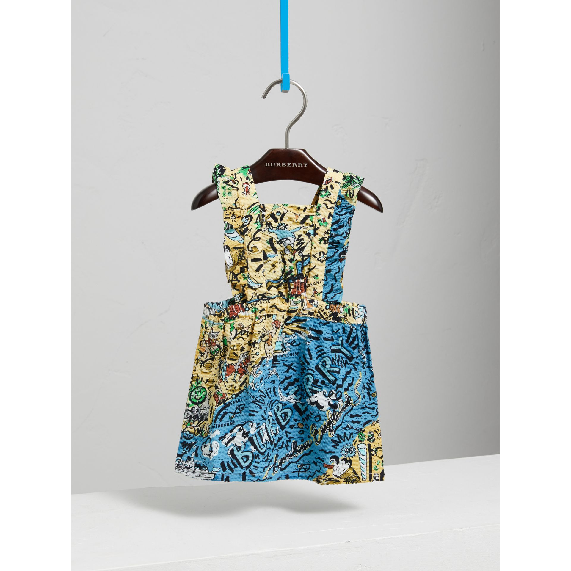 Seaside Print Seersucker Dress in Sand - Children | Burberry - gallery image 0