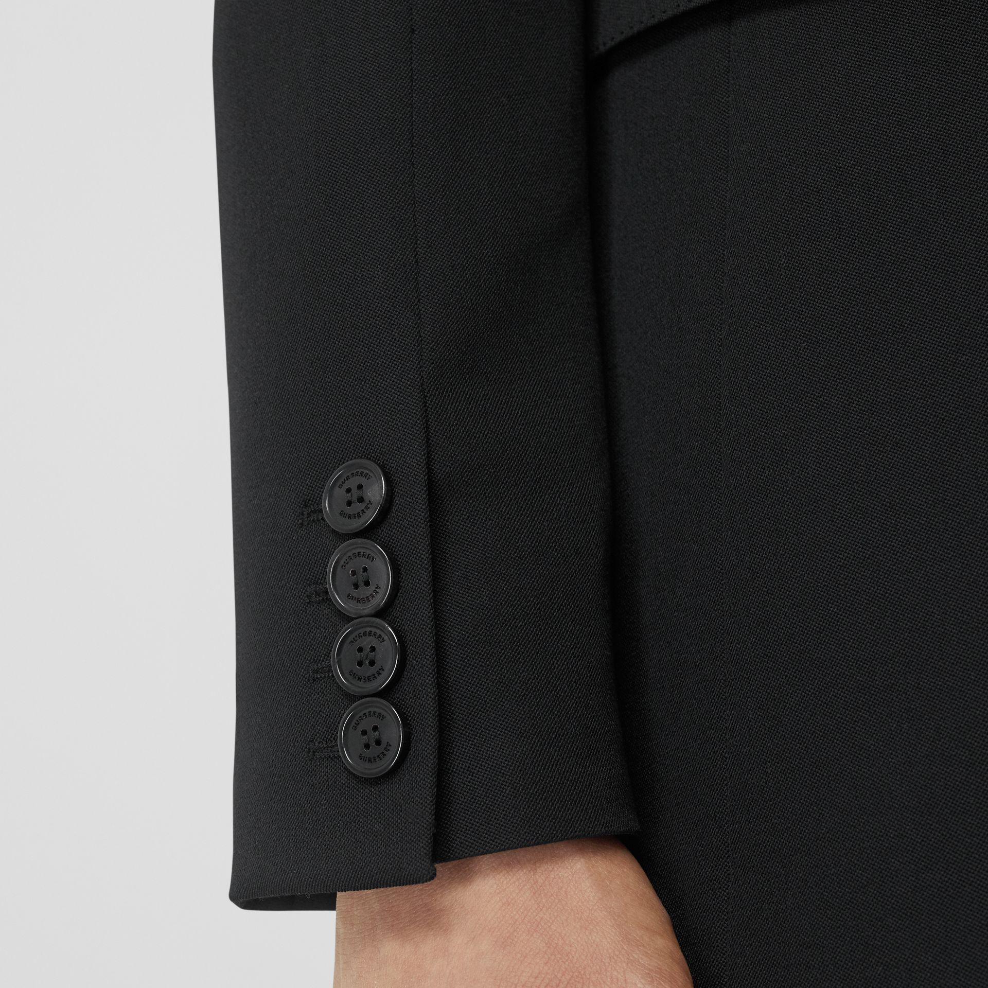 English Fit Reconstructed Wool Tailored Jacket in Black - Men | Burberry United Kingdom - gallery image 4