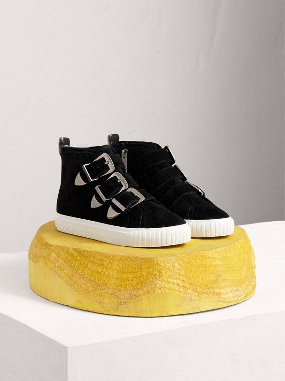 Buckle Detail Suede High-top Sneakers in Black