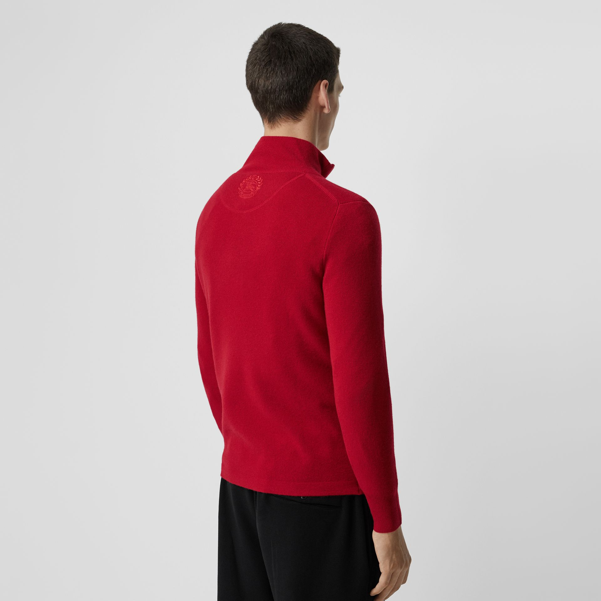 Rib Knit Cashmere Half-zip Sweater in Military Red - Men | Burberry - gallery image 2