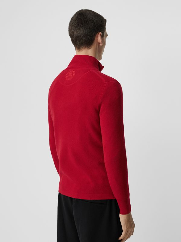 Rib Knit Cashmere Half-zip Sweater in Military Red - Men | Burberry Australia - cell image 2
