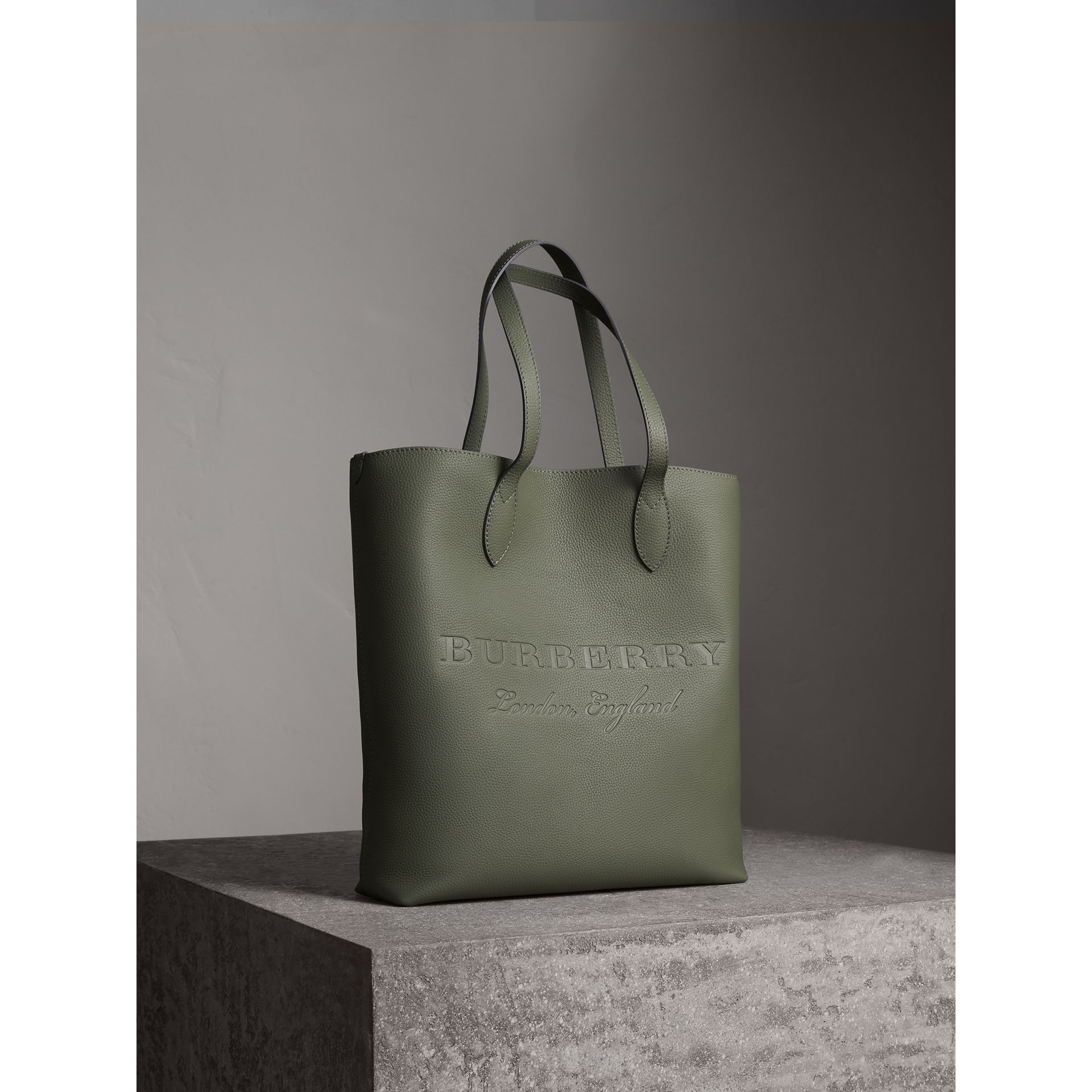 Medium Embossed Leather Tote in Slate Green | Burberry - gallery image 7