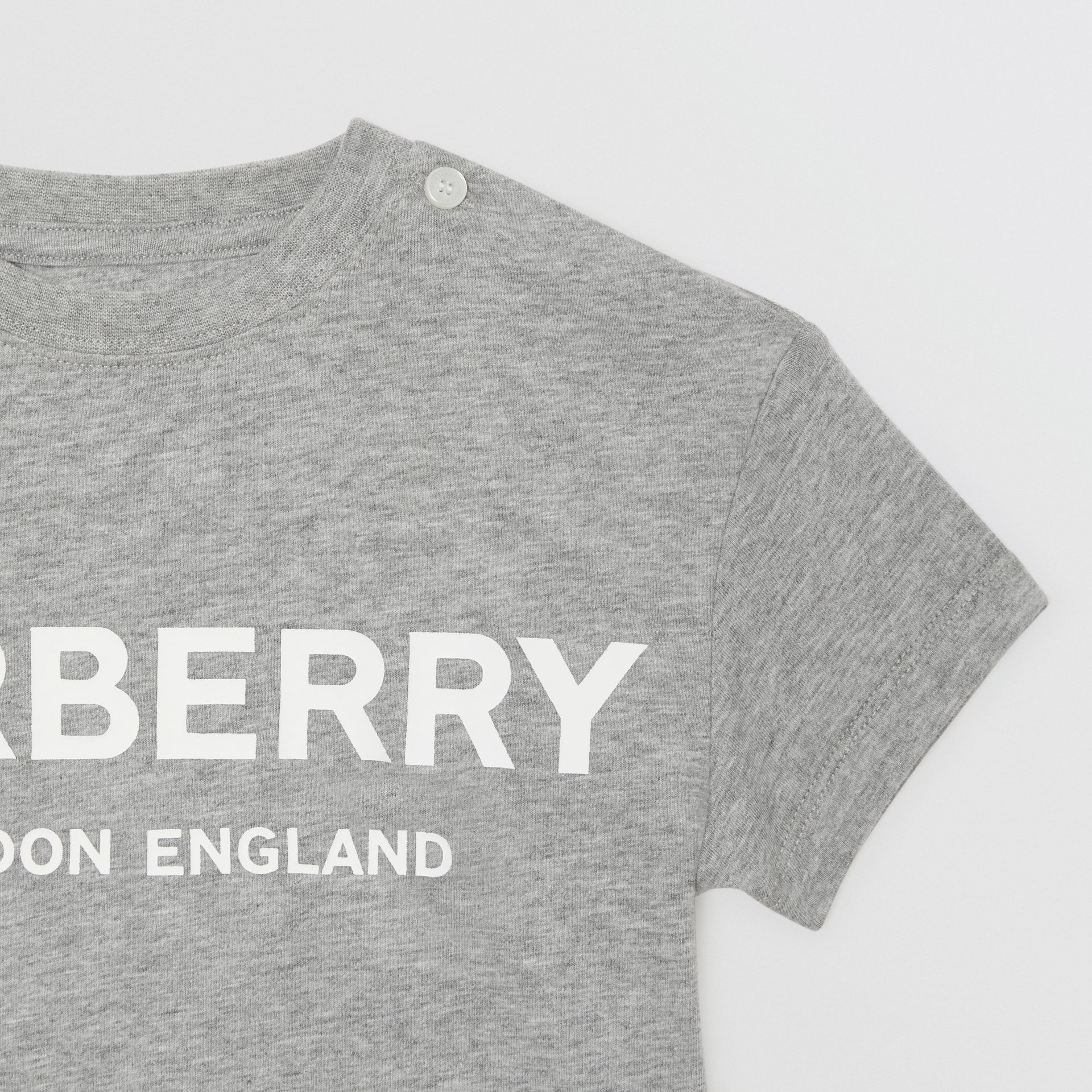 Logo Print Cotton T-shirt in Grey Melange - Children | Burberry Canada - gallery image 4