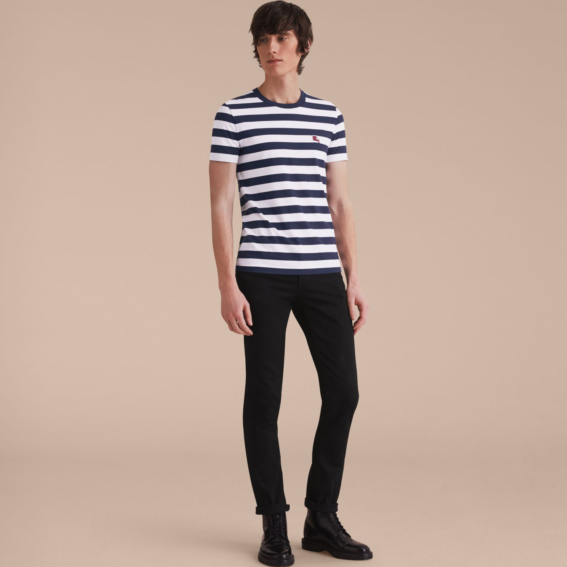 Striped Cotton T-Shirt in White/navy - Men | Burberry - gallery image 6