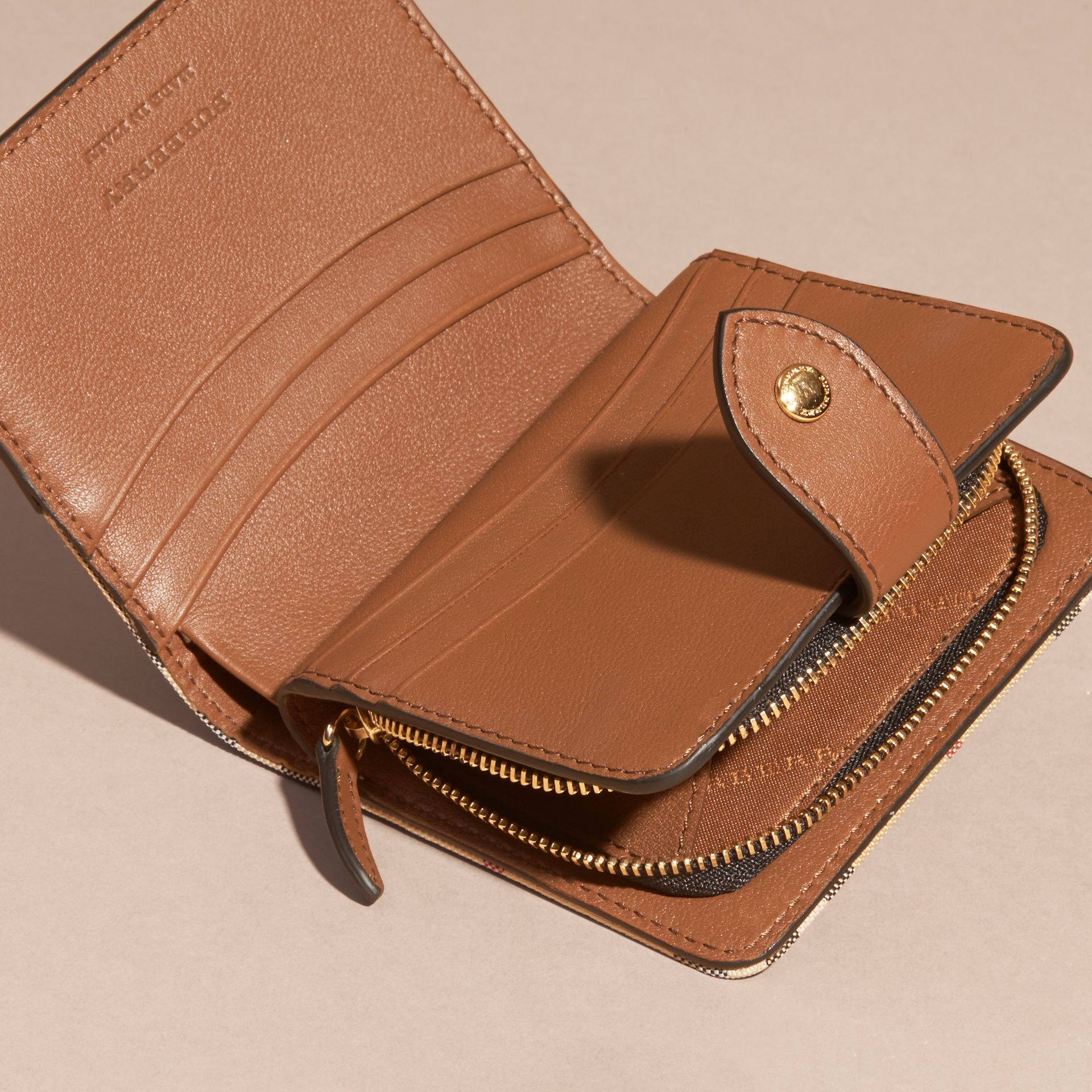 Tan Horseferry Check and Leather Wallet Tan - gallery image 5