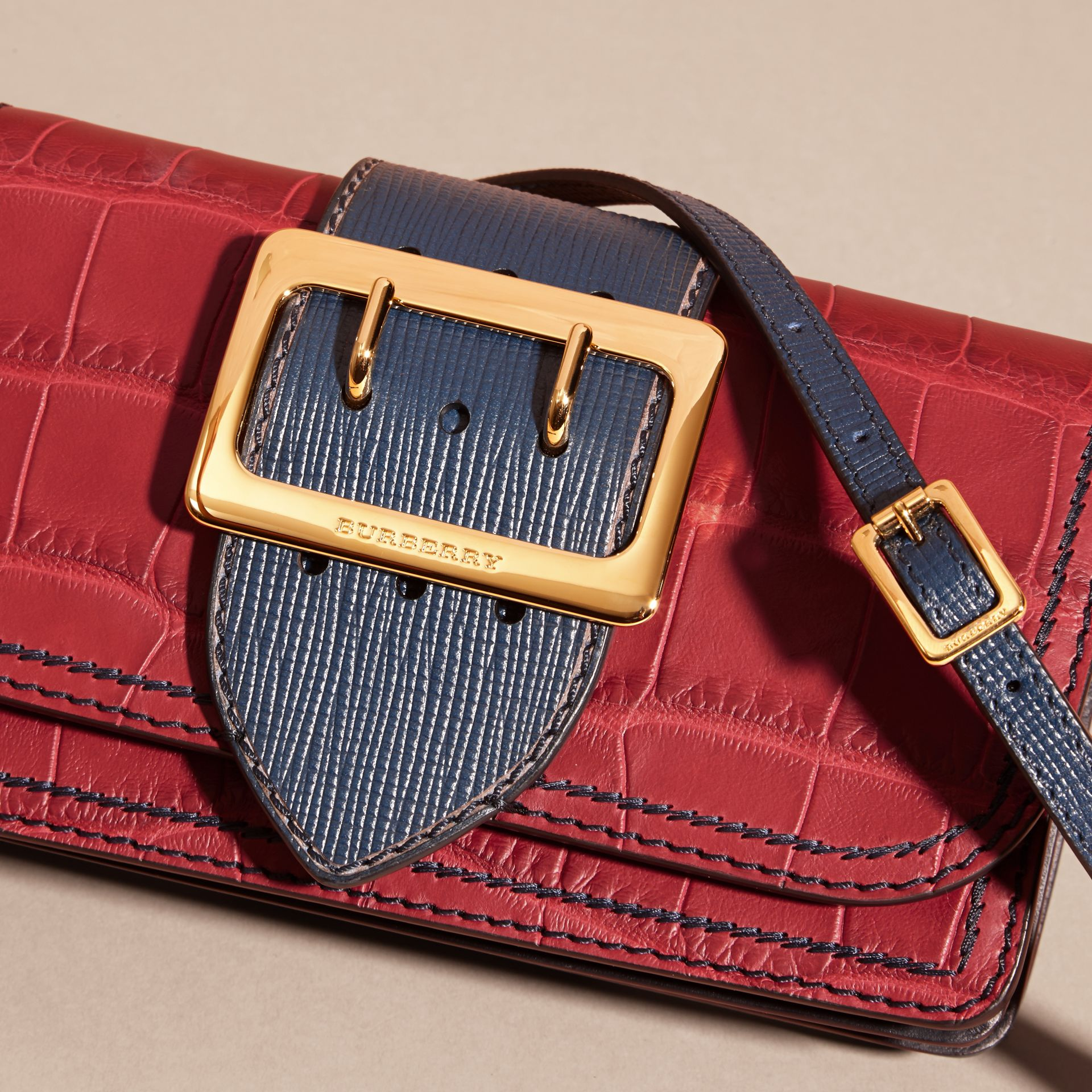 The Small Buckle Bag in Alligator and Leather Garnet Red/sapphire - gallery image 2