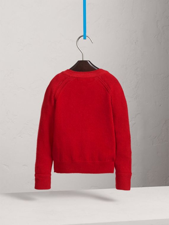 Check Cuff Cashmere Cardigan in Parade Red - Girl | Burberry - cell image 3