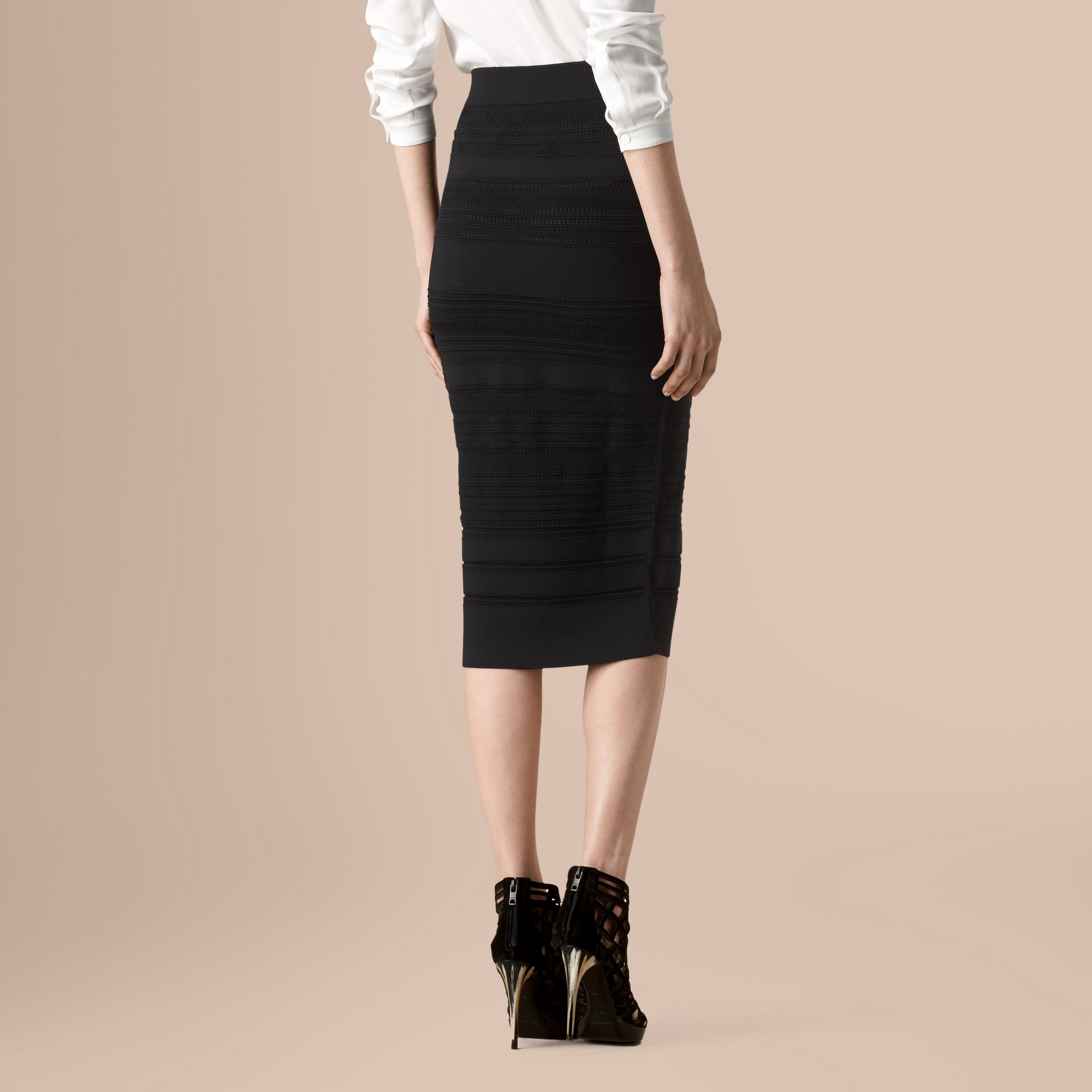 Black Striped Knitted Pencil Skirt - gallery image 3