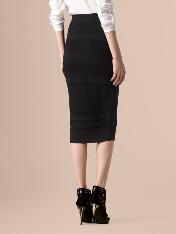 Black Striped Knitted Pencil Skirt - cell image 2