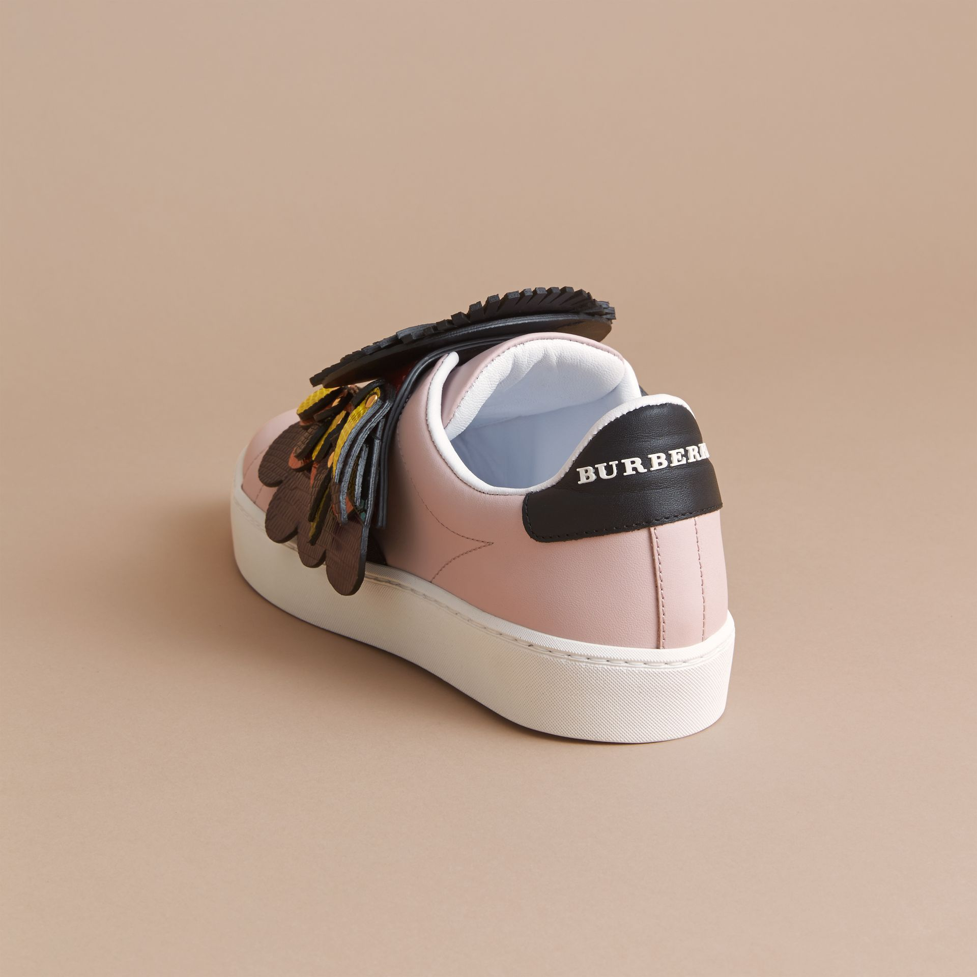 Beasts Motif Leather Slip-on Trainers in Ivory Pink - Women | Burberry - gallery image 4