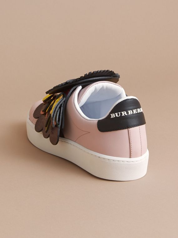 Beasts Motif Leather Slip-on Trainers in Ivory Pink - Women | Burberry - cell image 3