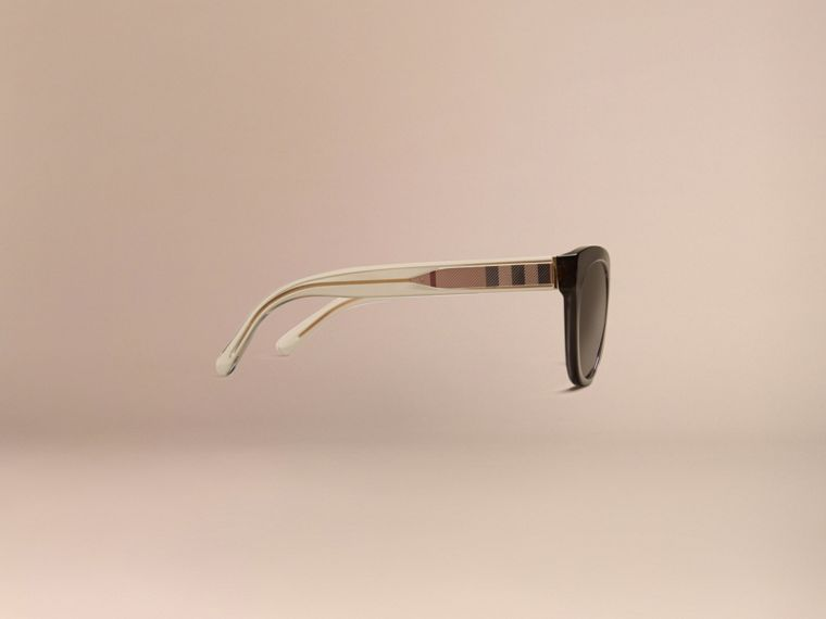Dark grey Check Detail Oval Sunglasses Dark Grey - cell image 4