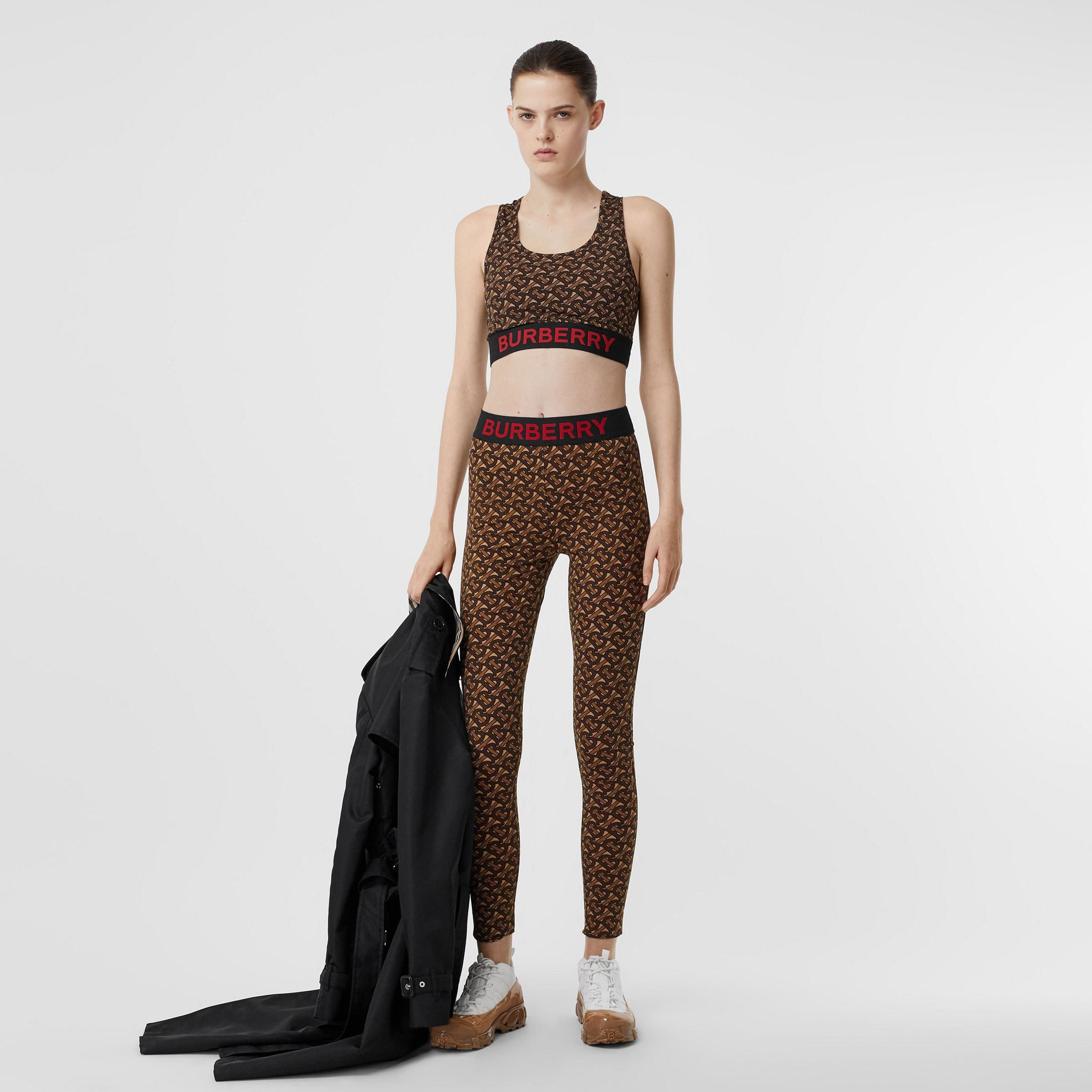 Monogram Print Stretch Jersey Leggings in Bridle Brown - Women | Burberry - 1