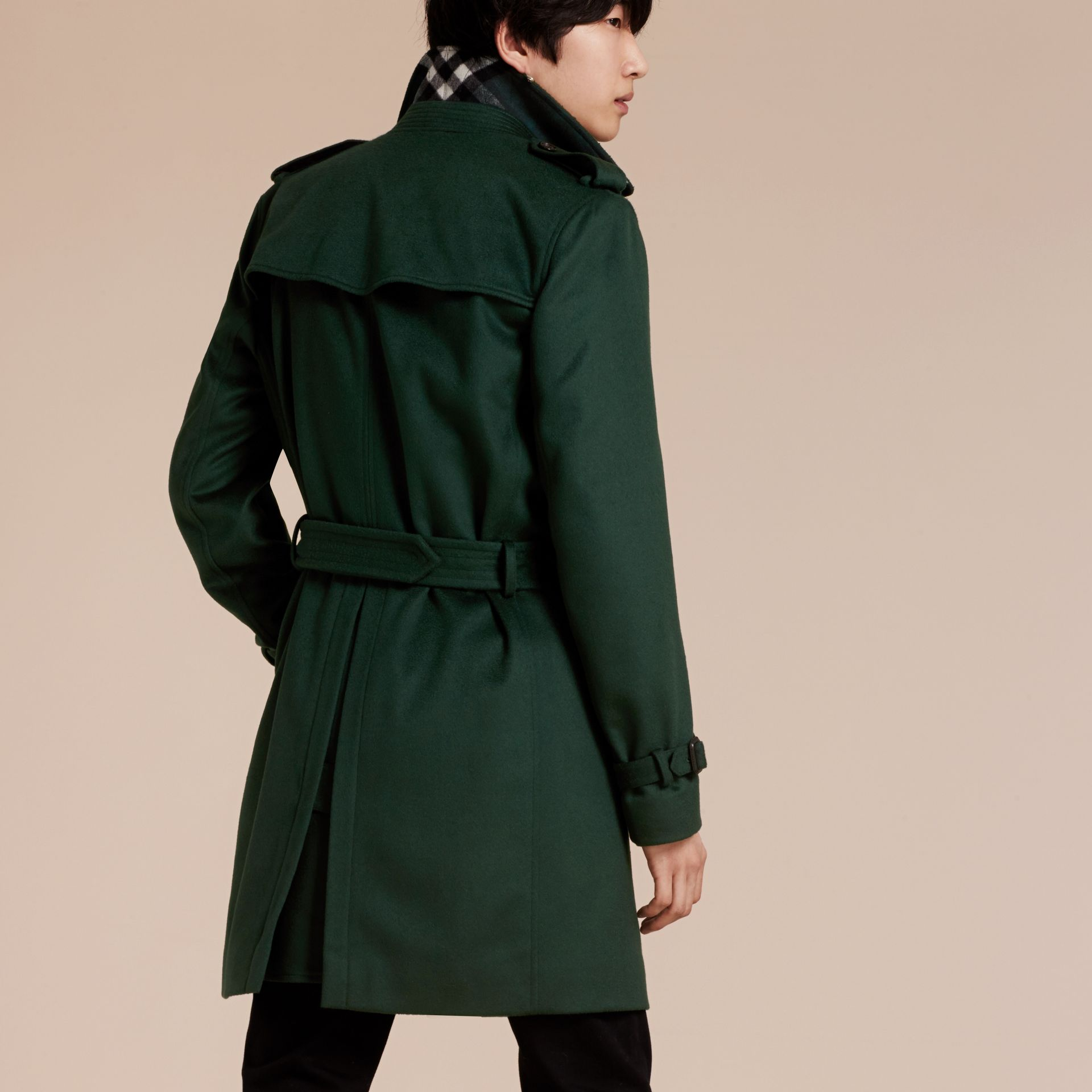 Dark military green Cashmere Trench Coat Dark Military Green - gallery image 3