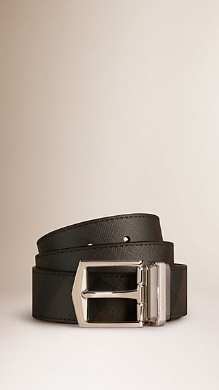 Reversible Smoked Check and Leather Buckle Belt