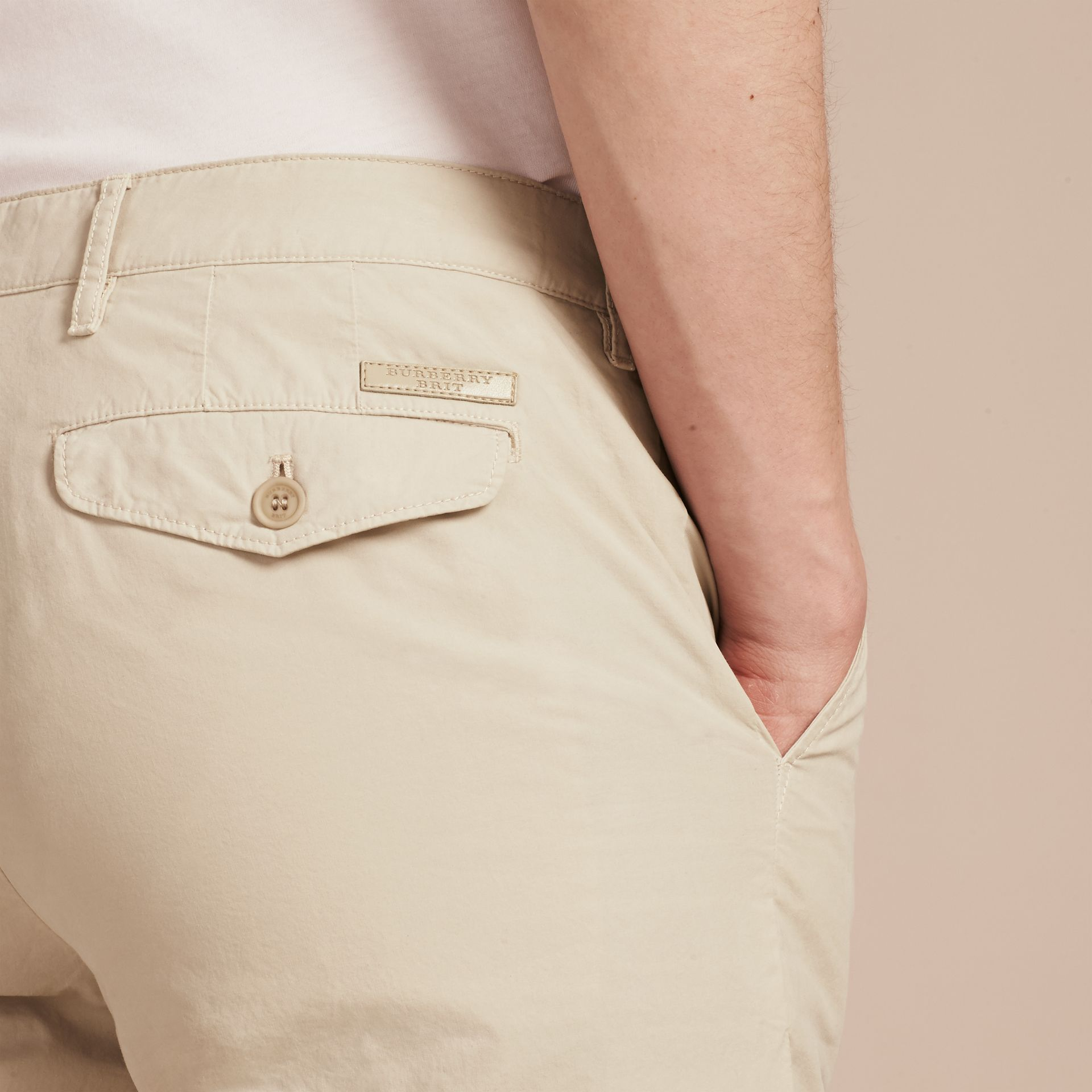 Slim Fit Cotton Poplin Chinos in Stone - gallery image 5