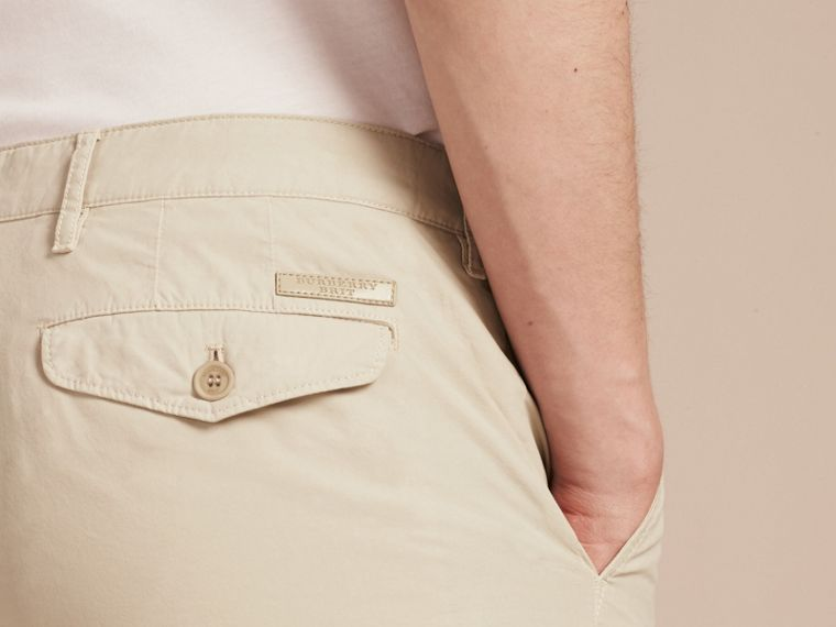 Slim Fit Cotton Poplin Chinos in Stone - Men | Burberry - cell image 4