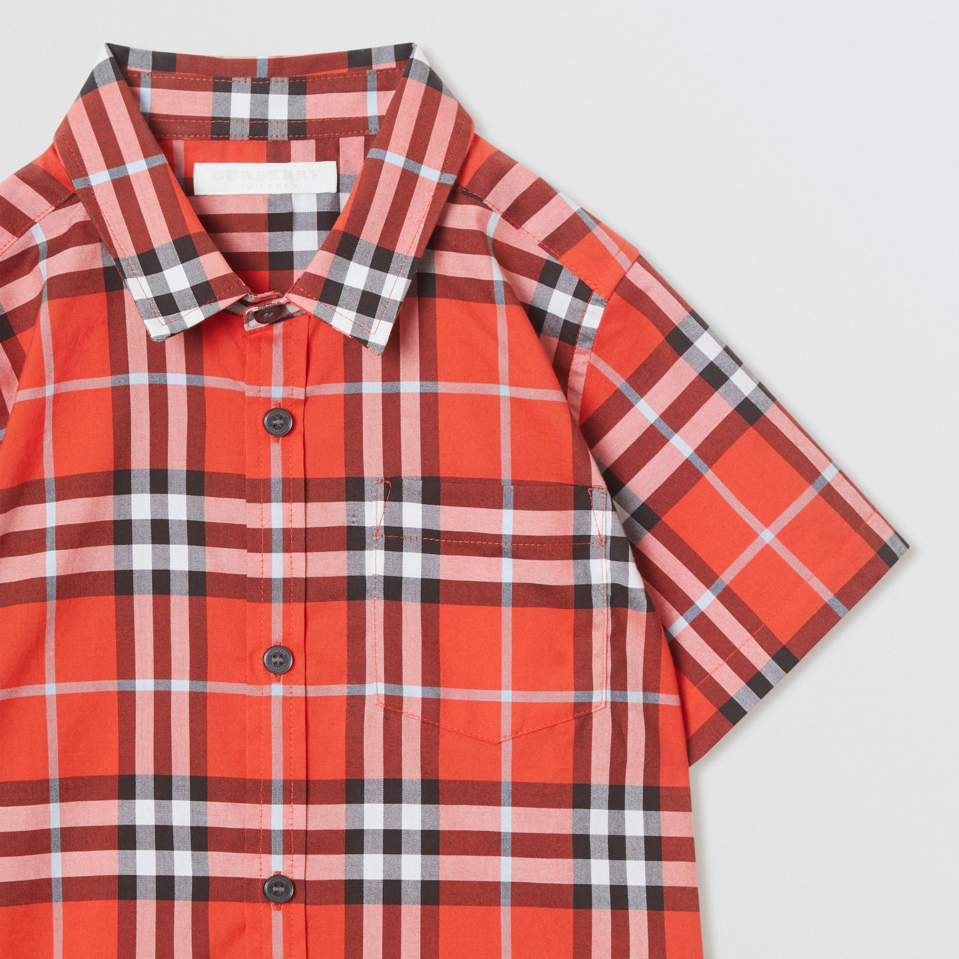 Short-sleeve Check Cotton Shirt in Orange Red | Burberry - gallery image 4