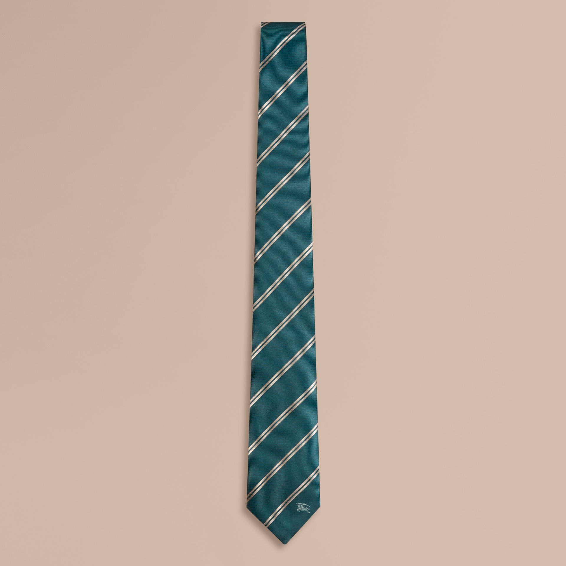 Deep viridian green Modern Cut Striped Silk Tie Deep Viridian Green - gallery image 1