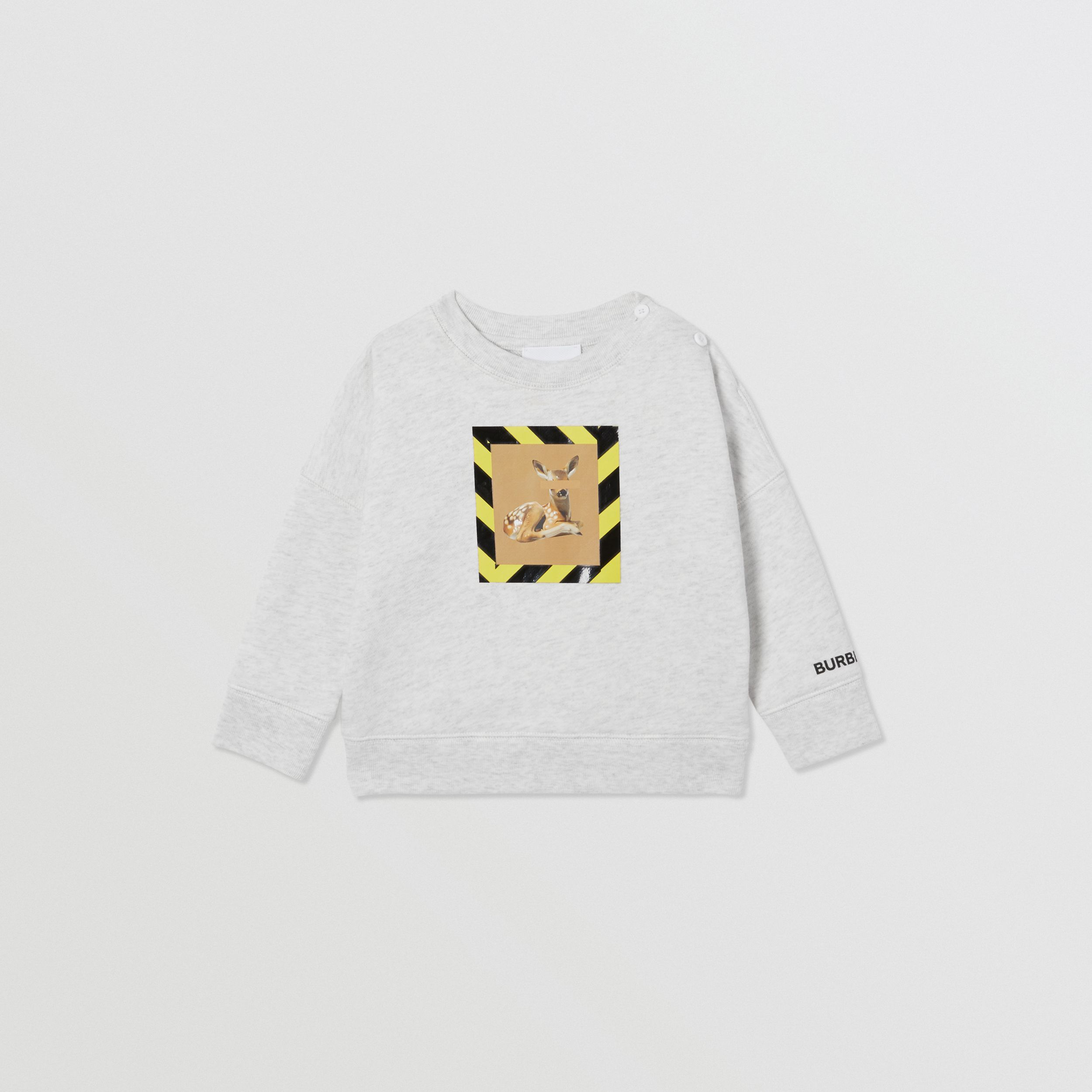 Deer Print Cotton Sweatshirt in White Melange - Children | Burberry Australia - 1