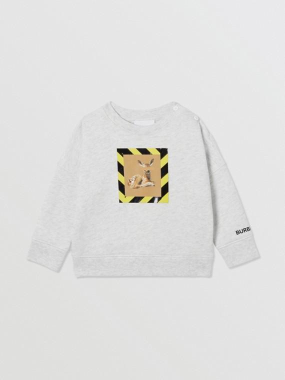 Deer Print Cotton Sweatshirt in White Melange
