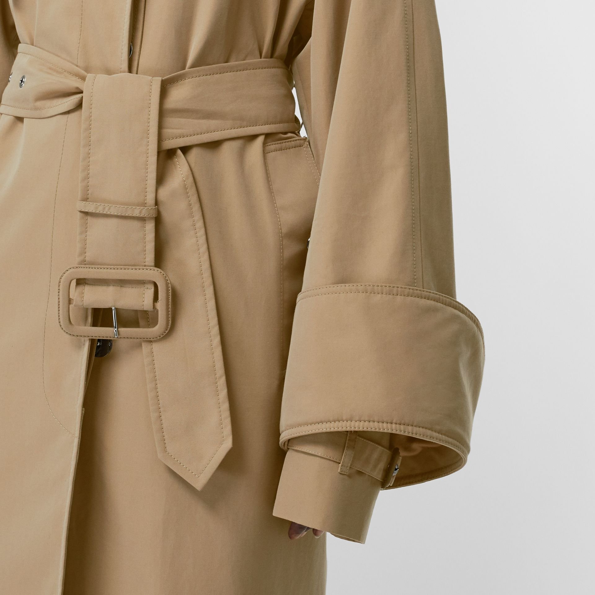 Exaggerated Cuff Cotton Gabardine Car Coat in Pale Honey - Women | Burberry - gallery image 4
