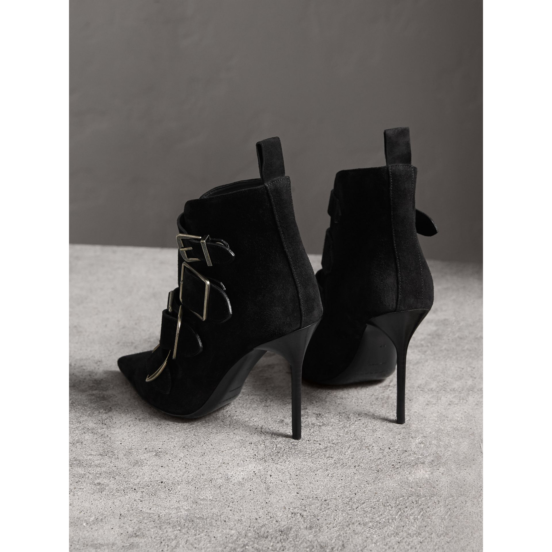Buckle Detail Suede Ankle Boots in Black - Women | Burberry United Kingdom - gallery image 4