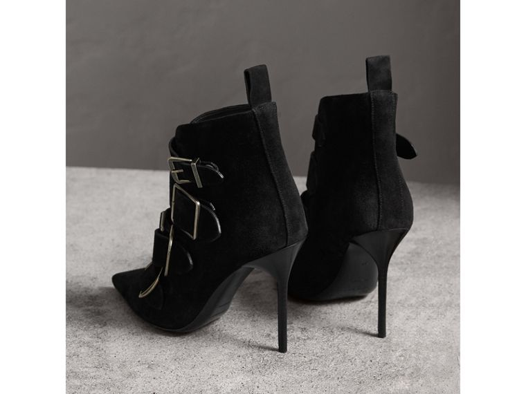 Buckle Detail Suede Ankle Boots in Black - Women | Burberry - cell image 4