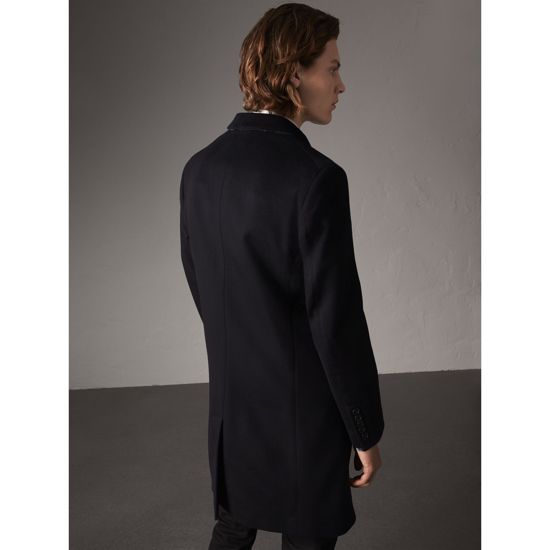 Wool Cashmere Tailored Coat in Navy - Men | Burberry United States - gallery image 3