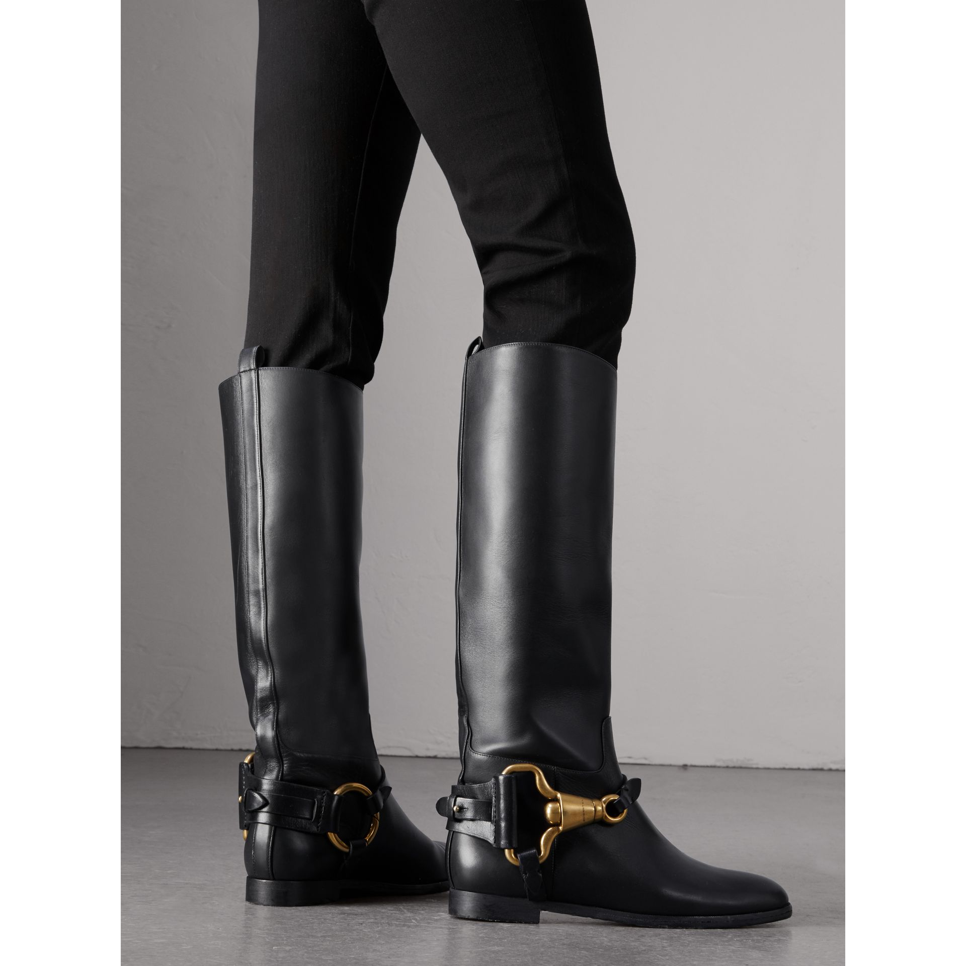 Equestrian Detail Leather Riding Boots in Black - Women | Burberry - gallery image 3