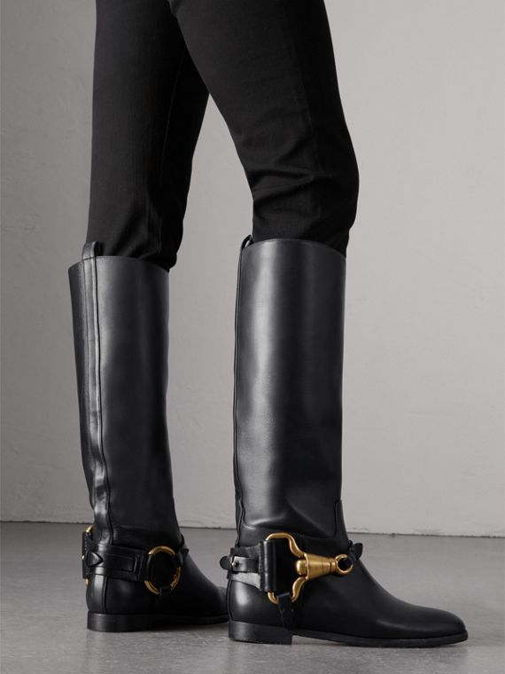 Equestrian Detail Leather Riding Boots in Black - Women | Burberry - cell image 2