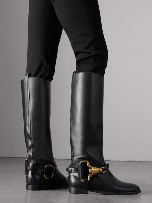 Equestrian Detail Leather Riding Boots in Black | Burberry United States - cell image 2