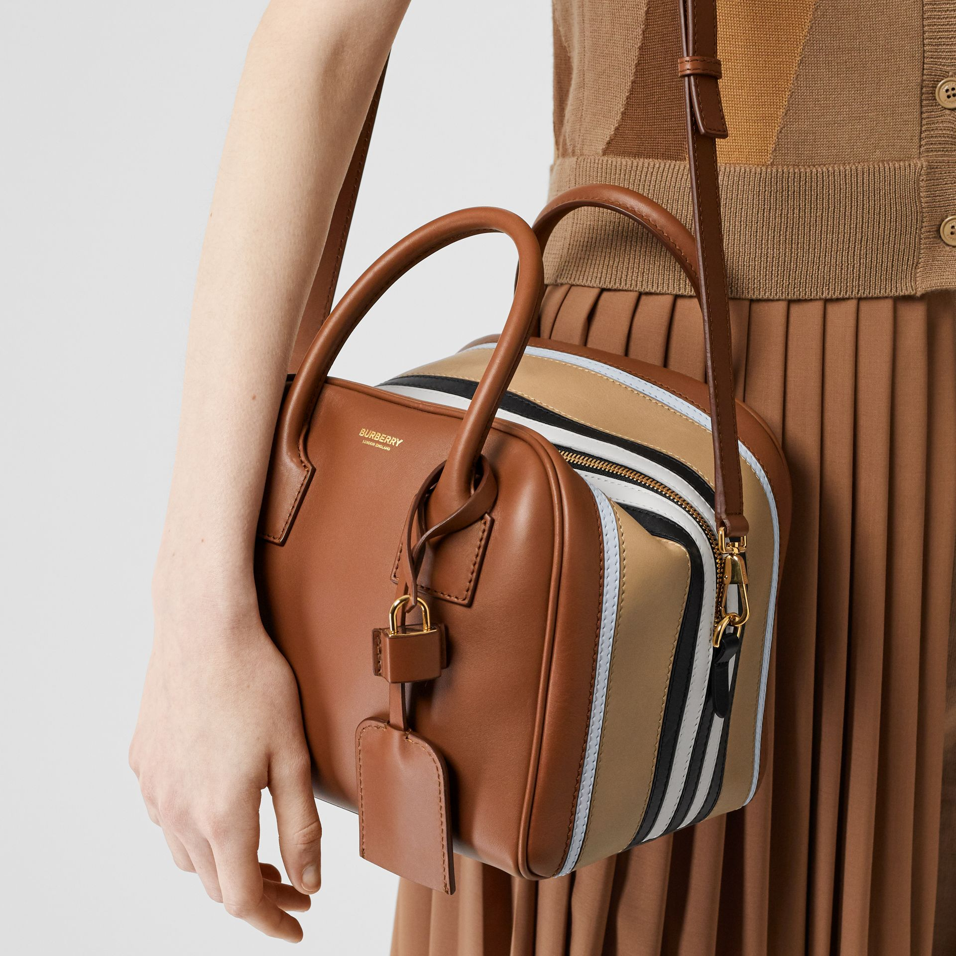 Small Stripe Intarsia Leather Cube Bag in Malt Brown/pale Blue - Women | Burberry United Kingdom - gallery image 2