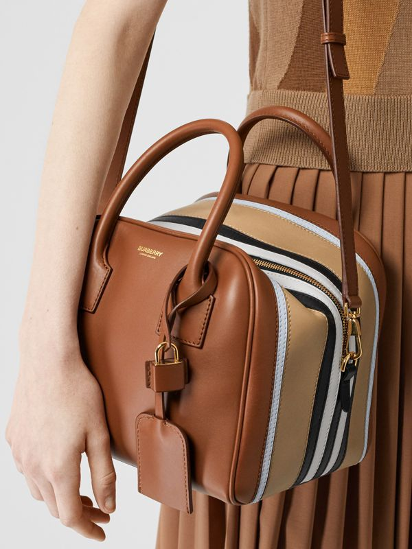 Small Stripe Intarsia Leather Cube Bag in Malt Brown/pale Blue - Women | Burberry United Kingdom - cell image 2