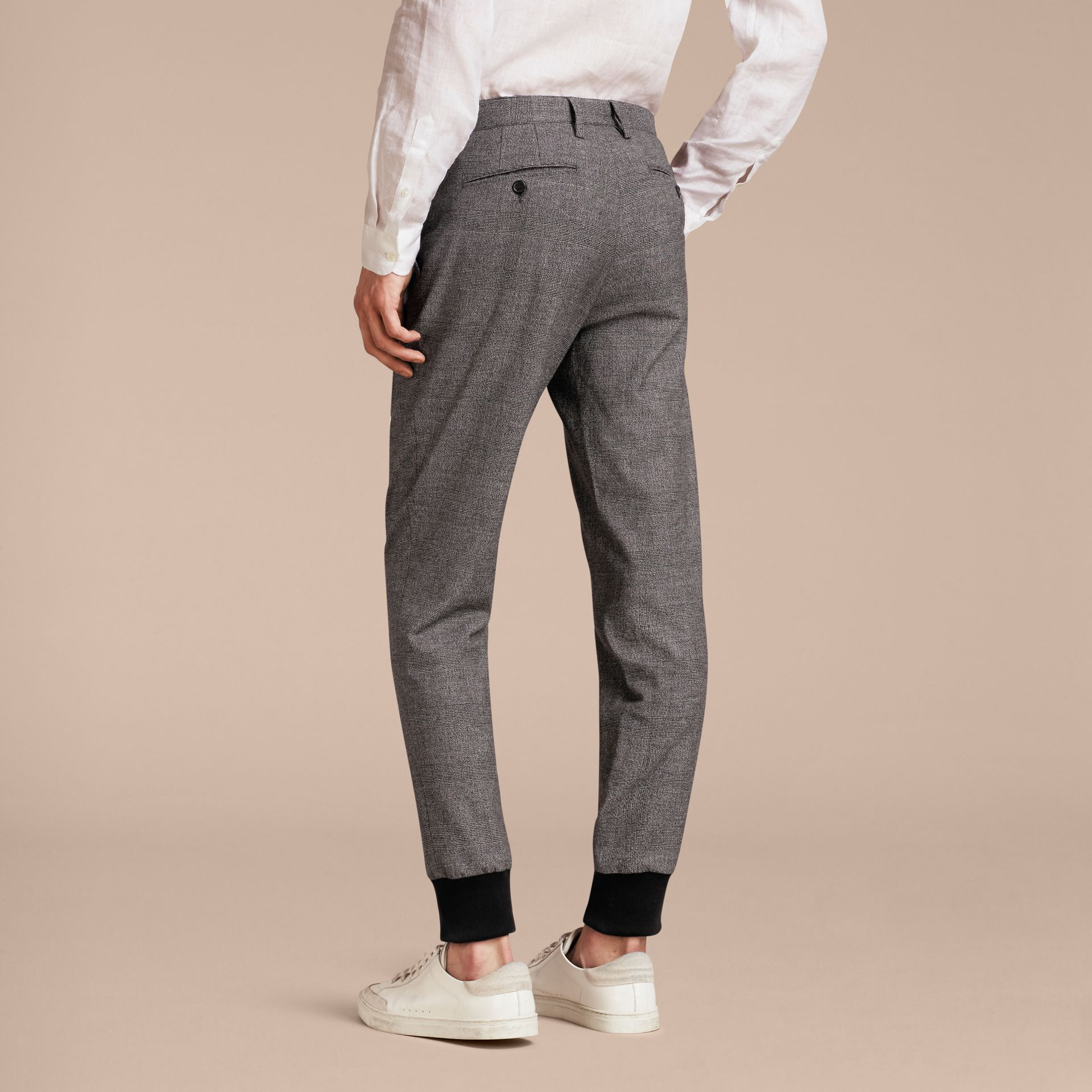Prince of Wales Cotton Wool Trousers with Knit Cuffs - gallery image 3