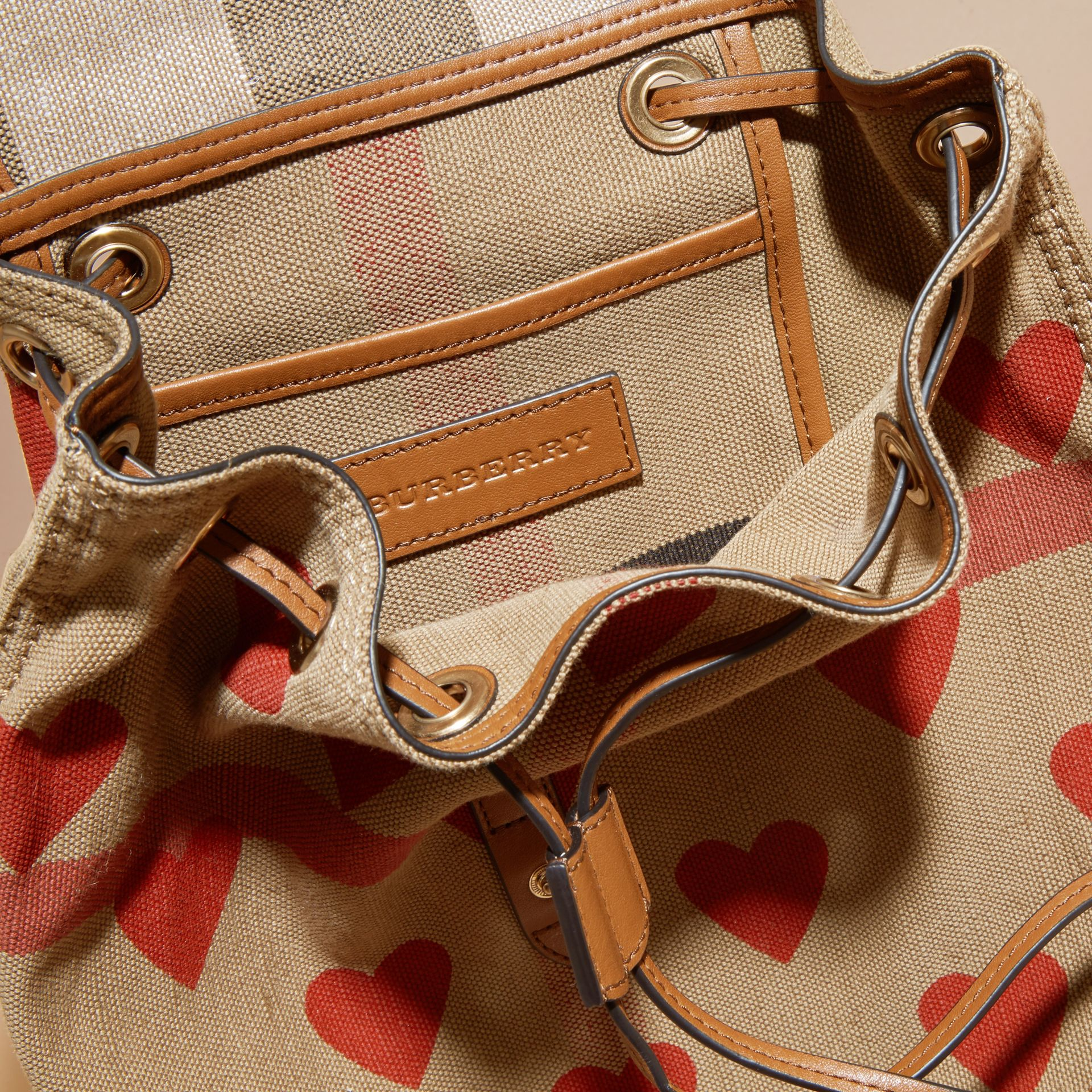 Parade red/tan Heart Print Canvas Check Backpack with Leather Trim Parade Red/tan - gallery image 5