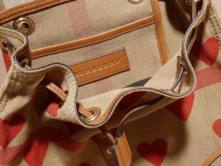 Parade red/tan Heart Print Canvas Check Backpack with Leather Trim Parade Red/tan - cell image 4
