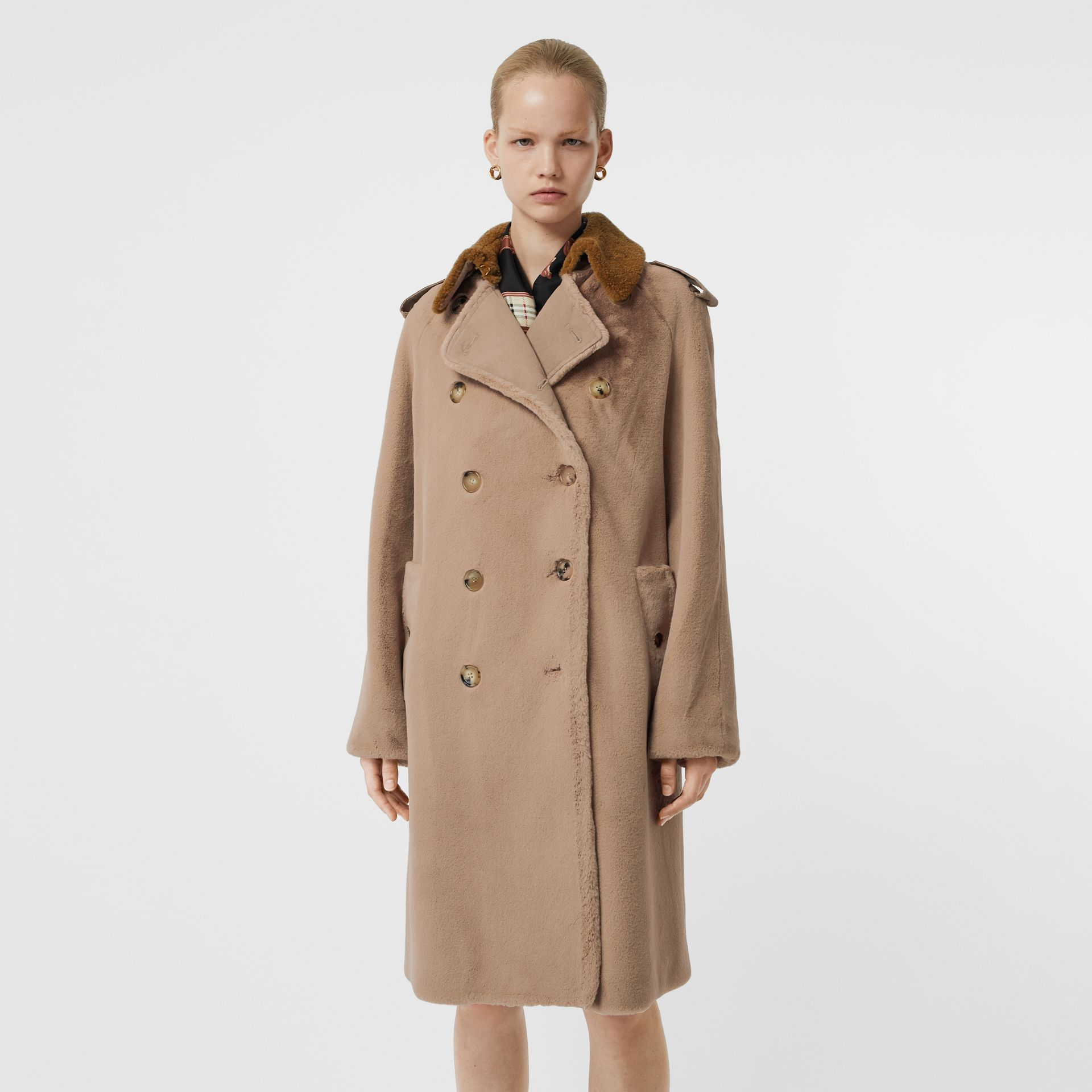 Shearling Trim Faux Fur Trench Coat in Taupe - Women | Burberry - gallery image 6