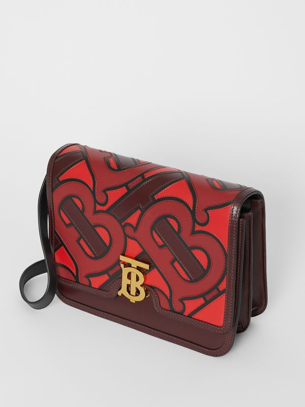 Medium Monogram Appliqué Leather TB Bag in Oxblood - Women | Burberry Canada - cell image 3