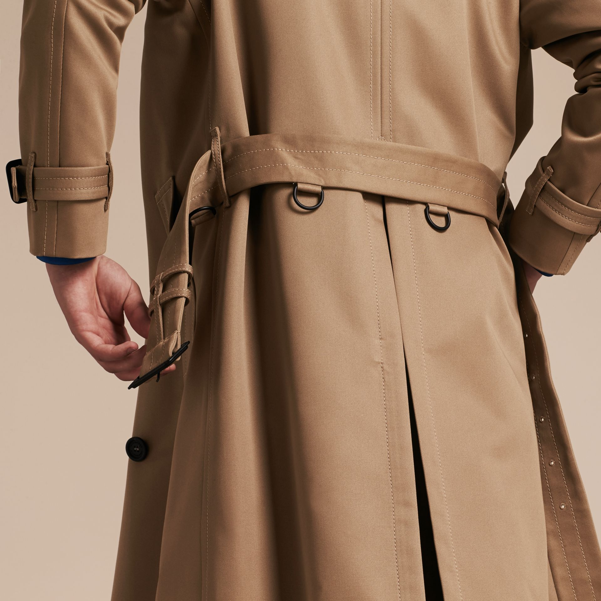 Light taupe brown Raglan-sleeved Cotton Trench Coat - gallery image 2