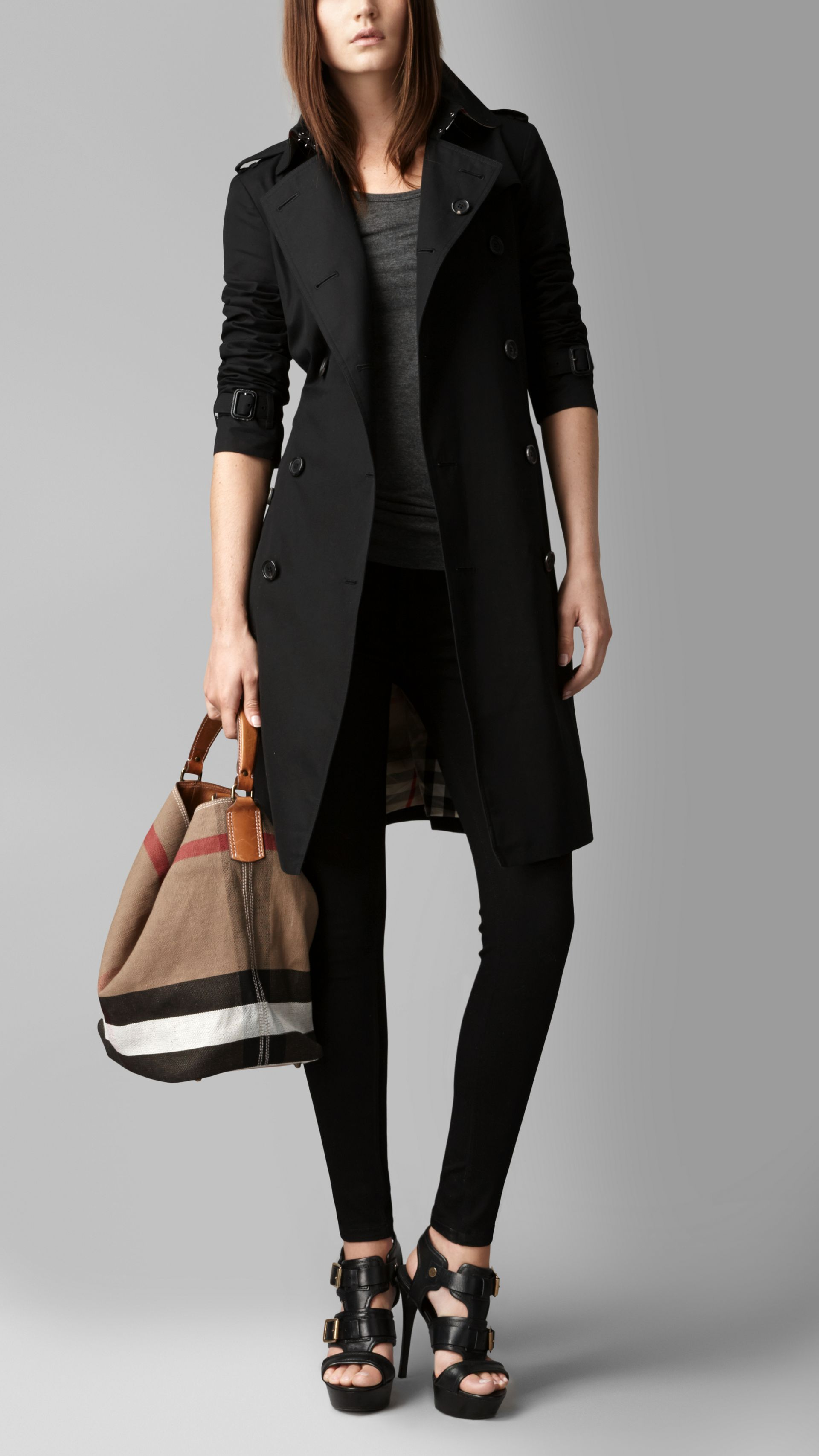 Medium Canvas Check Hobo Bag in Black - Women | Burberry - gallery image 7