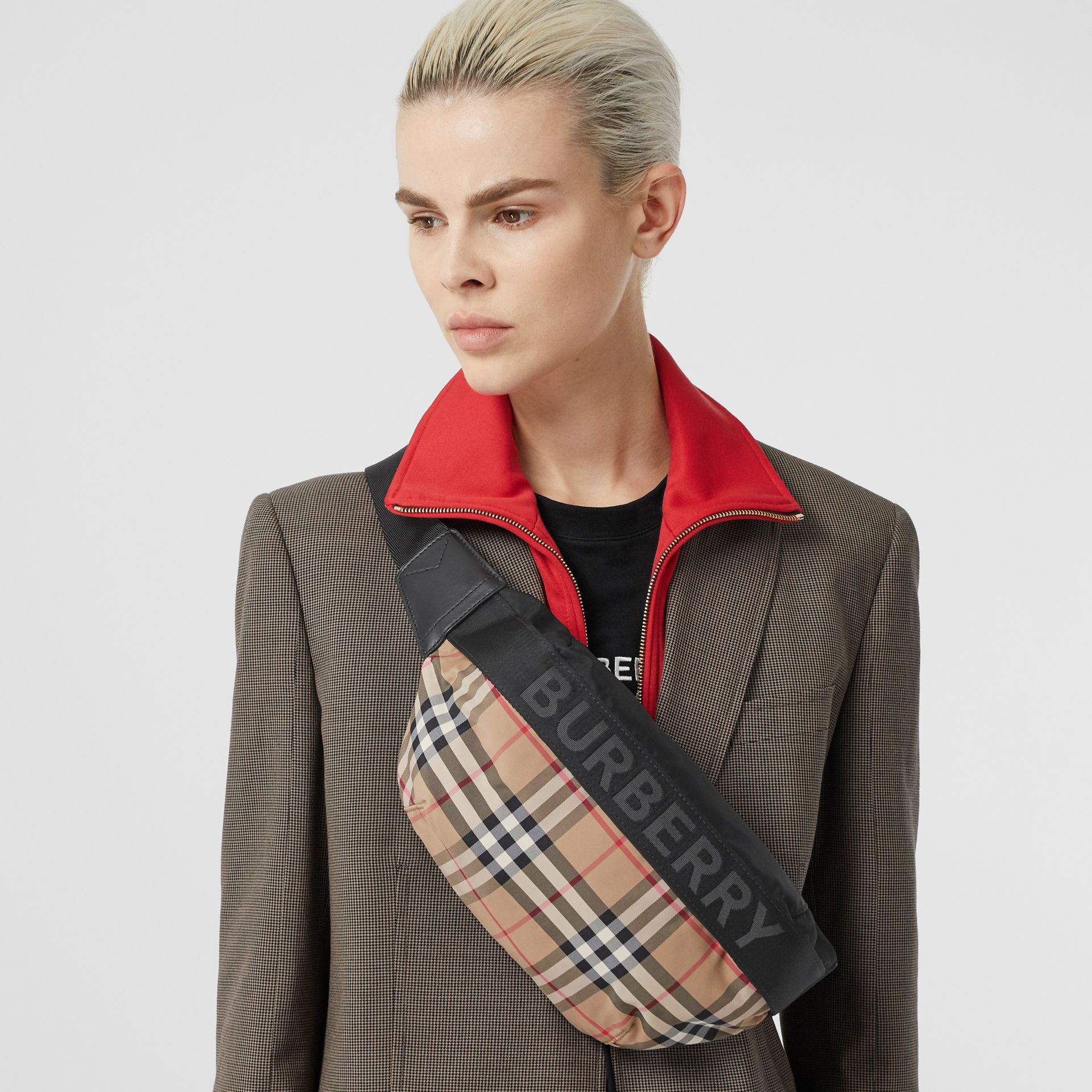 Medium Vintage Check Bum Bag in Archive Beige - Women | Burberry - gallery image 2