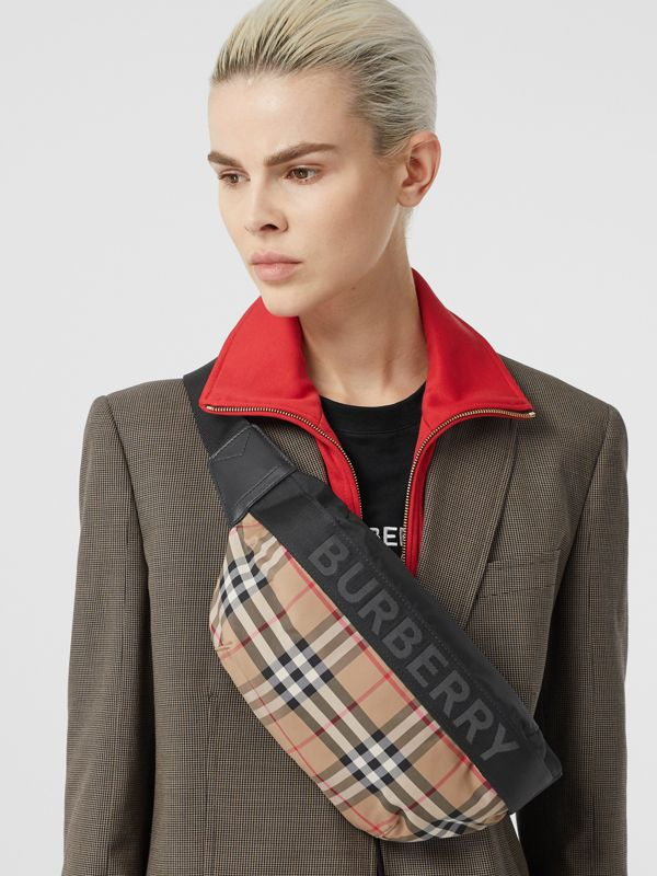 Medium Vintage Check Bum Bag in Archive Beige - Women | Burberry - cell image 2