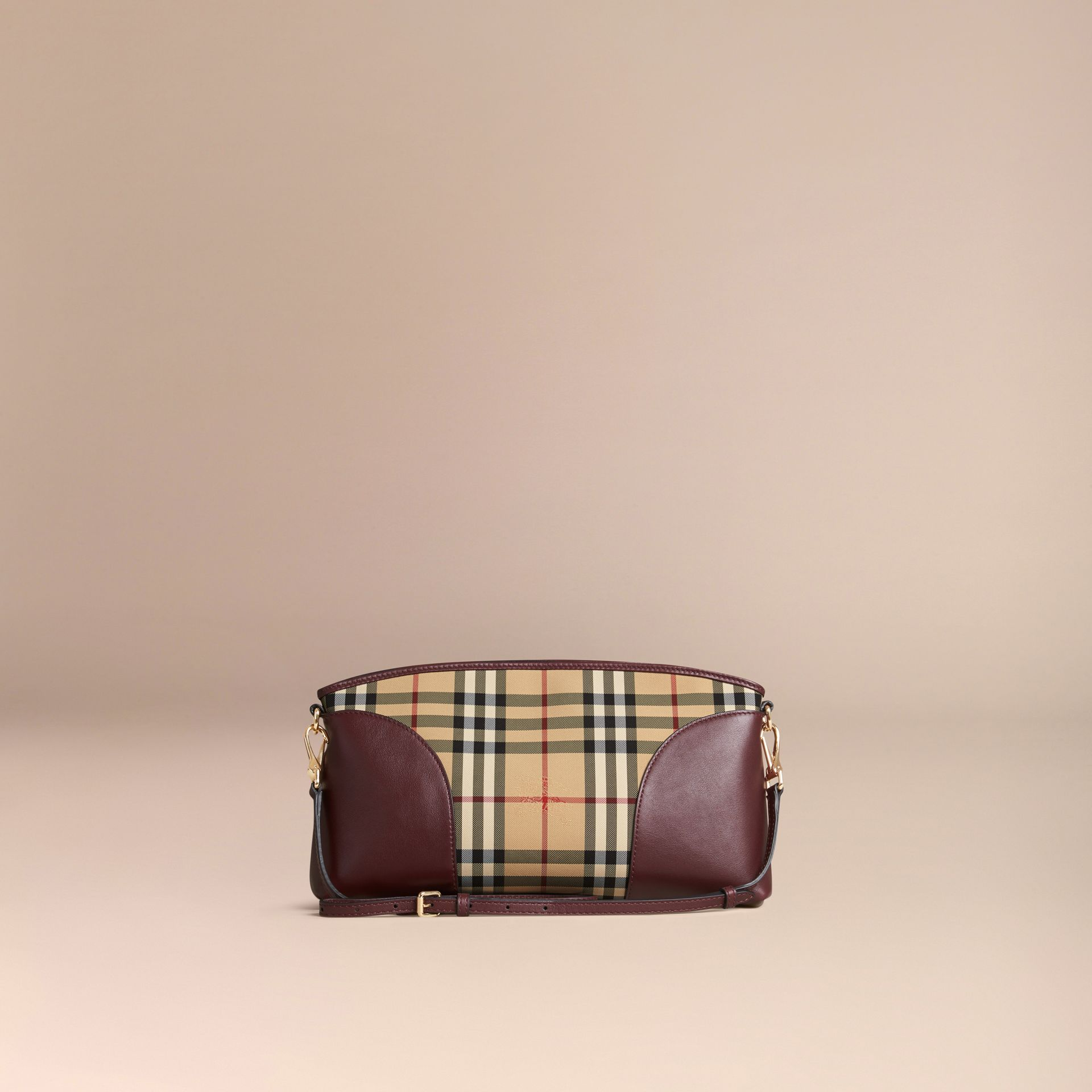 Honey/deep claret Horseferry Check and Leather Clutch Bag Honey/deep Claret - gallery image 8